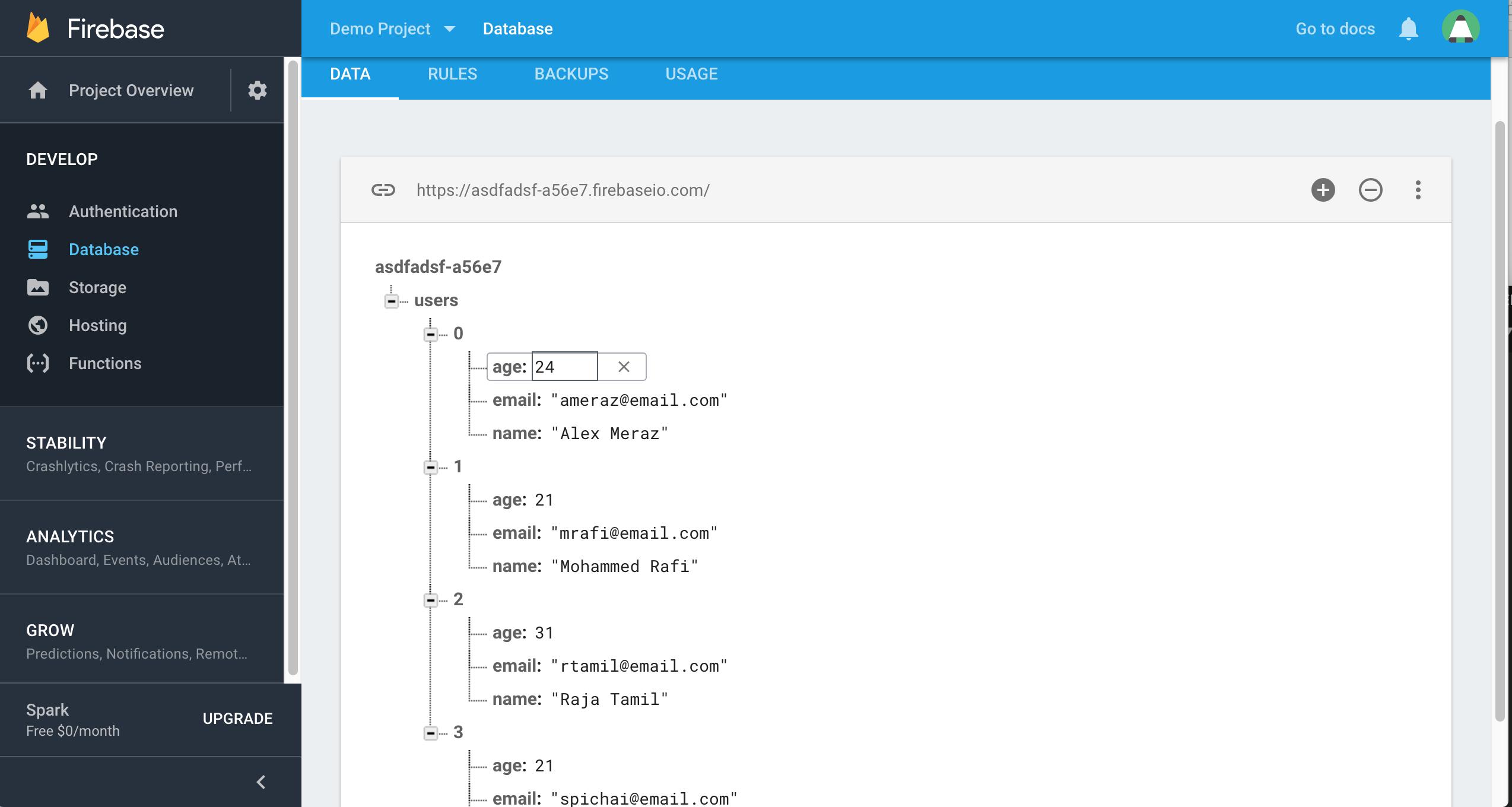 firebase database json data structure