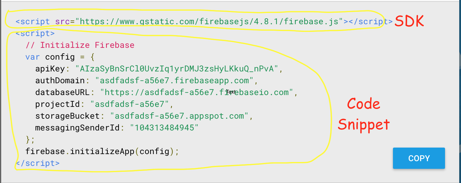 Firebase JavaScript SDK and Code snippet for initializing firebase